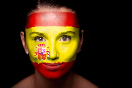 spanish girl: Portrait of a woman with the flag of the Spain
