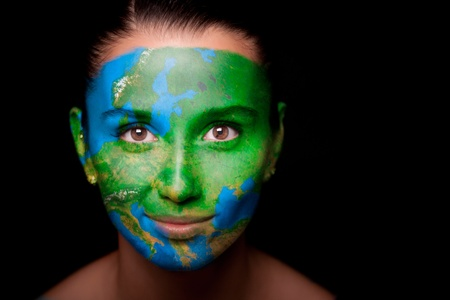 futuristic nature: Girl with a painted map of Europe on his face.