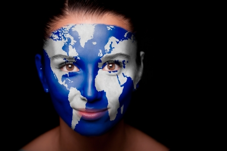 Girl with a painted map of World on his face.