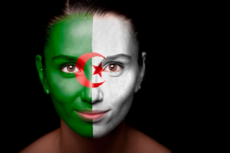 Algeria: Portrait of a woman with the flag of the Algeria Stock Photo