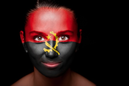 angola: Portrait of a woman with the flag of the Angola Stock Photo