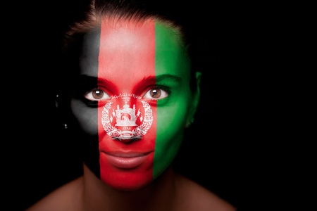 afghan flag: Portrait of a woman with the flag Stock Photo