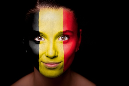 belgian: Portrait of a woman with the flag of the Belgium