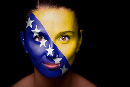 woman with the flag of the Bosnia and Herzegovina photo