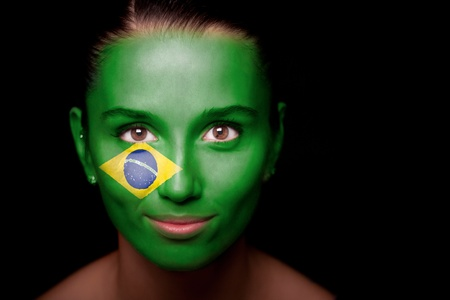 brazil country: Portrait of a woman with the flag of the Brazil