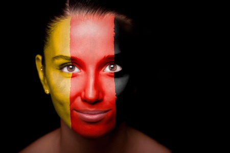 german girl: Portrait of a woman with the flag of the Germany