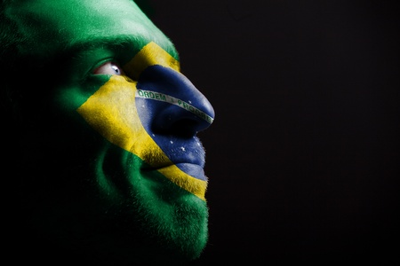 brazil country: Sports fan - a patriot. Stock Photo