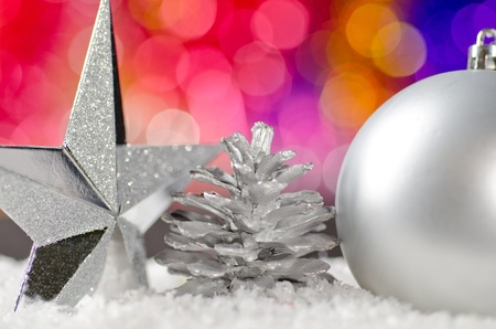 Christmas decorations in the snow. Stock Photo - 11763138
