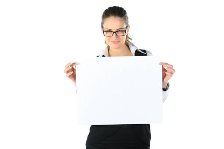 woman and a clean sheet in her hands photo