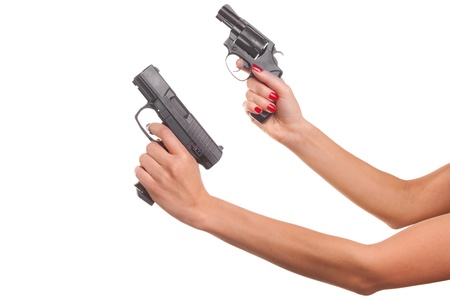 mujer con arma: La mujer de la mano con una pistola