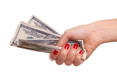 Dollars in hand. photo