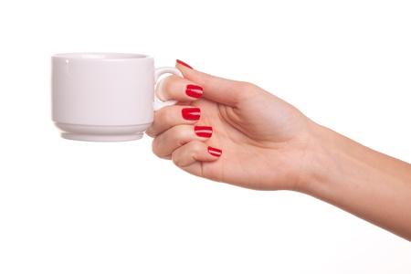 dando la mano: Mujer y una taza de cafetería.