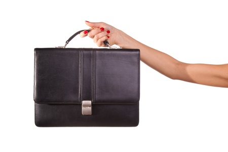 woman handle success: Woman hands and suitcase.
