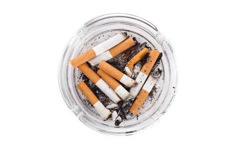 Ashtray full of cigarettes close-up photo