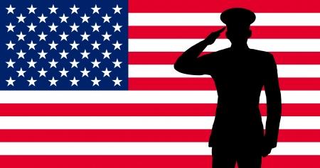 soldado: Un soldado estadounidense saludando Foto de archivo
