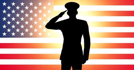 salut: En amerikansk soldat som saluterar