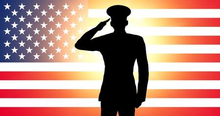julio: Un soldado estadounidense saludando Foto de archivo