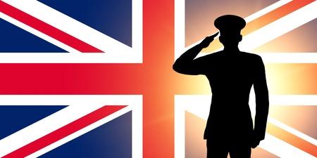 silhouette soldat: Le drapeau britannique