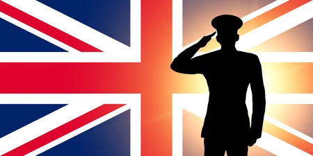 soldier silhouette: The British flag