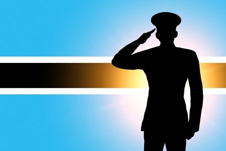 saluting: The Botswana flag Stock Photo