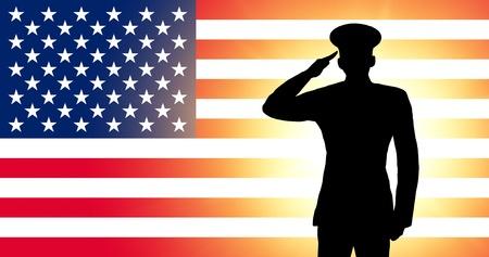 silhouette soldat: Le drapeau aux Etats-Unis Banque d'images