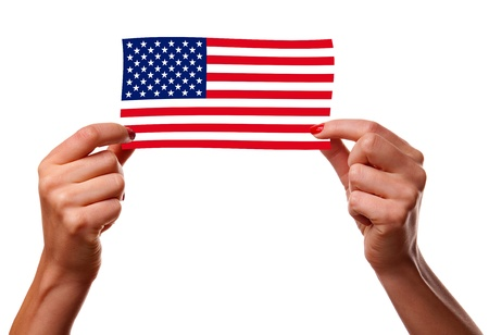 American flag and woman hands photo