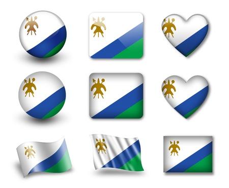 LESOTHO: The Lesotho flag Stock Photo