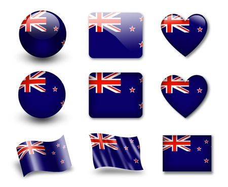 badge logo: The New Zealand flag Stock Photo