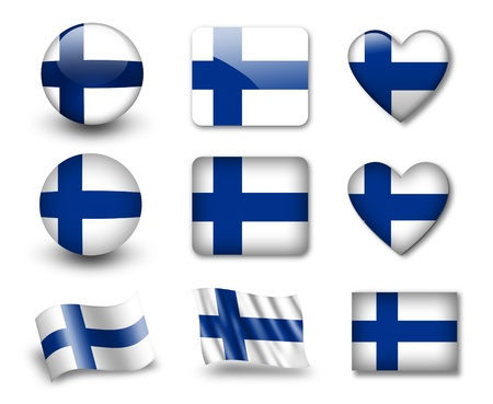The Finnish flag Stock Photo - 12406967