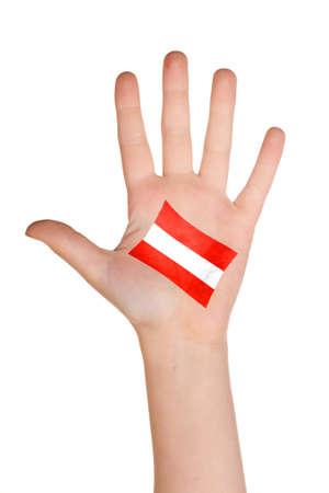 austrian flag: The Austrian flag painted on the palm.
