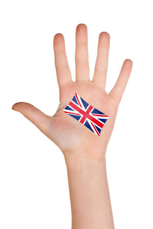 comp: The British flag painted on the palm.