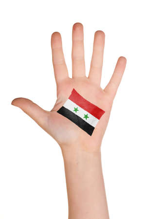 The Syria flag painted on the palm.  photo