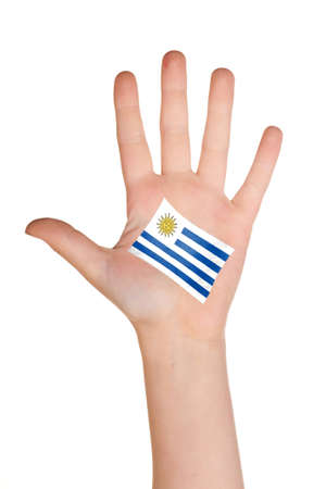 comp: The Uruguayan flag painted on the palm.