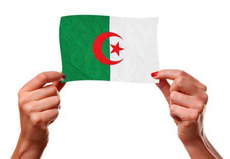 Algierski: Algierczyk flaga w rÄ™kach kobiety. Zdjęcie Seryjne