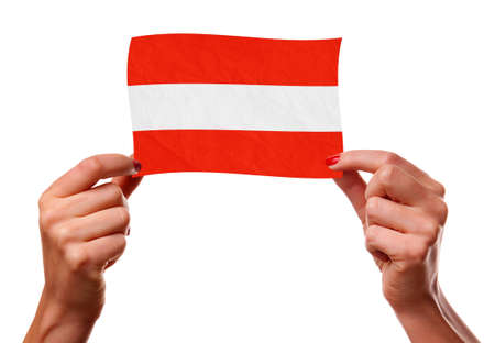 The Austrian flag in the woman hands photo