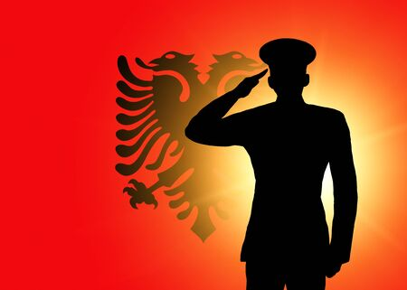 The Albanian flag photo