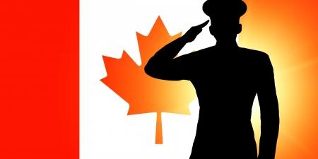 salut: Den kanadensiska flaggan Stockfoto