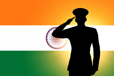 saluting: The Indian flag Stock Photo
