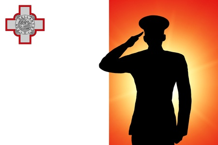 soldier silhouette: The Maltese flag Stock Photo