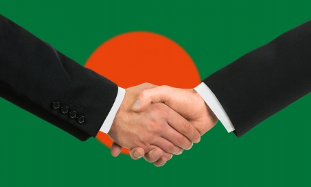 bangladesh: The Bangladesh flag and business handshake
