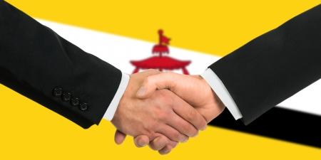 The Brunei Flag and business handshake
