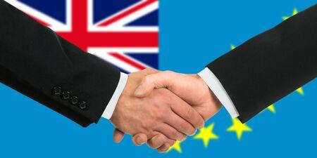 tuvalu: The Tuvalu flag and business handshake