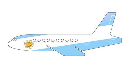 bandera argentina: La bandera argentina pintada en la silueta de un avión. ilustración brillante