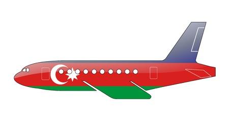 azerbaijani: The Azerbaijani flag painted on the silhouette of a aircraft. glossy illustration