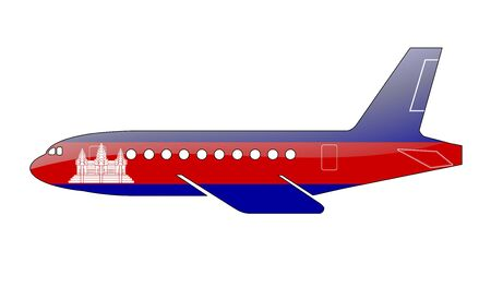 cambodian flag: The Cambodian flag painted on the silhouette of a aircraft. glossy illustration
