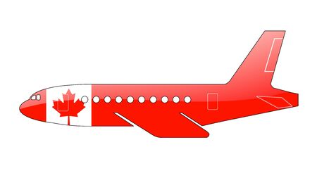 approach: The Canadian flag painted on the silhouette of a aircraft. glossy illustration Stock Photo