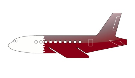 The Qatari flag painted on the silhouette of a aircraft. glossy illustration Stock Illustration - 15432714