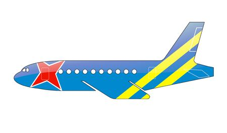 approach: The Aruba Flag painted on the silhouette of a aircraft. glossy illustration