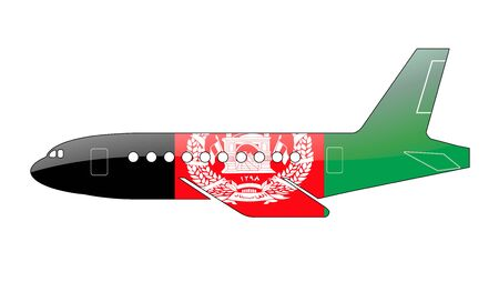 afghan: The Afghan flag painted on the silhouette of a aircraft. glossy illustration Stock Photo