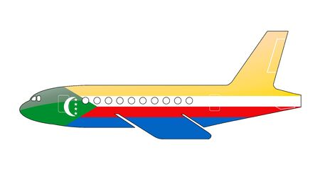 comoros: The Comoros flag painted on the silhouette of a aircraft. glossy illustration